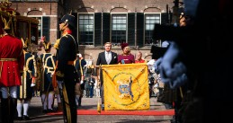 King Willem-Alexander and Queen Maxima arriving at the Ridderzaal in The Hague for the King's Budget Day speech, 17 September 2019