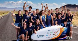 TU Delft and VU Amsterdam's Human Power Team with their aerodynamic recumbent bike