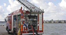 Fire truck at the port of Amsterdam
