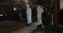 Investigators at the scene of an apparent murder-suicide on Heimerstein in Dordrecht. A police officer and two children were killed. 9 Sept 2019