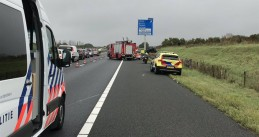 Emergency services at the scene of an accident on the A73 highway, 13 Sept 2019