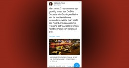 A tweet by PVV Senator Marjolein Faber about a stabbing incident at a terrace in Groningen, 26 Sept 2019