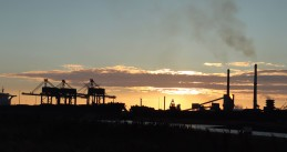 Tata Steel IJmuiden at sunset