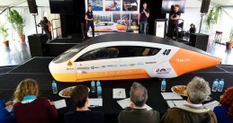 Solar Team Eindhoven presenting their Stella Era at the World Solar Challenge, Oct 2019