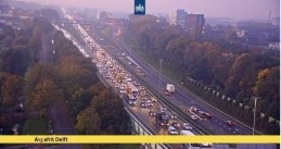 Traffic piles up on the A13 at Delft as construction vehicles head to The Hague to protest against the government's policy on nitrogen emissions and PFAS, 30 Oct 2019
