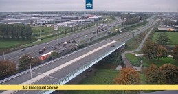 Tractors moving at a snail's pace in all lanes of the A12 moving from Utrecht towards Den Haag, 16 Oct 2019