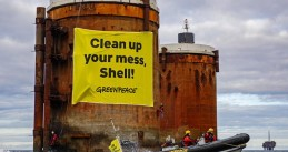 Greenpeace protesting at Shell oil platforms in the North Sea, October 2019