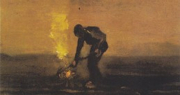 A farmer burning weeds, painted by Vincent van Gogh in 1883