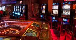 Roulette table and slot machines