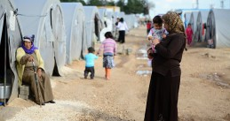 Women and children in a refugee camp