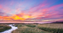 Sunset in Slufter nature reserve on Texel island