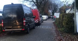 "Over 100 police officers raid a caravan camp on Hoogheuvelstraat in Oss where the ""Godfather of Brabant"" was arrested, 13 Nov 2019"