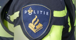 Politie patch on a Dutch police officer's uniform