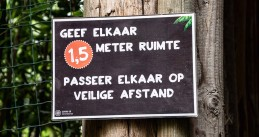 A sign promoting social distancing in Overloon, Noord-Brabant. 4 Oct. 2020
