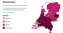 Netherlands' coronavirus risk levels on 22 October 2020