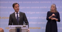 Mark Rutte discussing new coronavirus restrictions at a press conference. 13 October 2020