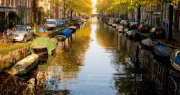 Sunny autumn day in Amsterdam