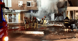 A Polish supermarket in Aalsmeer destroyed in an explosion and fire. 8 December 2020