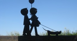 A statue of Jip and Janneke, and their dog, Takkie, in Zaltbommel, Gelderland. 27 May 2012