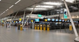 An empty check-in area at Schiphol Airport. 18 Dec. 2020