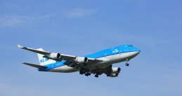 KLM Boeing 747 lands in Amsterdam
