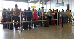 Passengers waiting to board at Eindhoven Airport