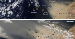 Satellite image of a sandstorm covering the Canary Islands, 22 and 23 February 2020