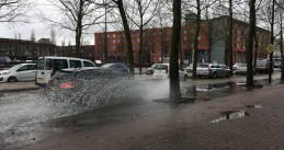 Water clogged several streets in Amsterdam Oost