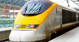 High speed Eurostar train at  St. Pancras London station