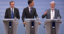 Bruno Bruins, Mark Rutte, and Jaap van Dissel at a press conference introducing new rules regarding coronavirus.