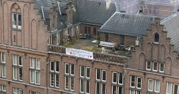 A banner hung across the street from the OLVG hospital in Amsterdam thanking healthcare workers