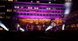 Light the Sky: Erasmus MC in Rotterdam lit up to show support for care and aid workers in the Covid-19 crisis, 22 March 2020