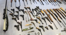 An array of weaponry collected by Rotterdam district police during an amnesty period in early 2019