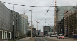 The Zuidas, Amsterdam's large commercial business district, was virtually abandoned. 19 March 2020