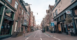 Amsterdam street largely abandoned due to coronavirus restrictions, 18 March 2020