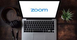 Laptop opening the Zoom app. March 30, 2020