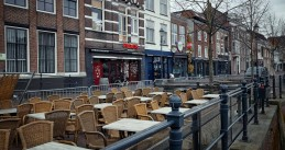 Empty terrace in Breda, 2 April 2020