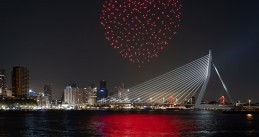 Drone light show ends Liberation Day in Rotterdam, 5 May 2020