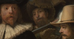A close up of a scene in Rembrandt's The Night Watch, part of a 44.8 gigapixel image of the painting