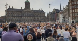 Thousands in Amsterdam turn out in support of Black Lives Matter after the death of George Floyd in America. June 1, 2020