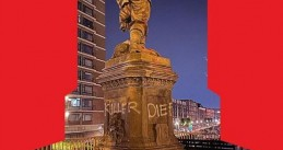 The words 'killer' and 'thief' spray painted on the Piet Hein statue on Delfshaven in Rotterdam, 12 June 2020