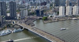 Thousands of people gather on and along the Erasmus Bridge in Rotterdam for a Black Lives Matter protest. June 3, 2020