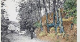 Post card 'rue Daubigny, Auvers-sur-Oise' covered with the painting 'Tree Roots' (1890) by Van Gogh