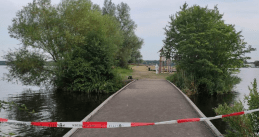 The Nieuwe Meer jetty in Amsterdam's Oeverlanden Park where a man was shot dead. Aug. 8, 2020