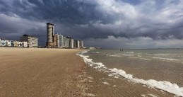 Ominous clouds appear over the Dutch coast in Vlissingen, Zeeland. June 19, 2020