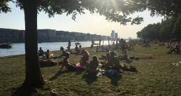 People filled up Bogortuin on Java-eiland to soak up the sun. Amsterdam had security staff on site to manage crowd size, 9 August 2020