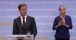 Mark Rutte speaking at a press conference on August 18, 2020