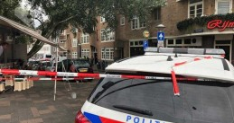 Police at the scene of a shooting on Vechtstraat in Amsterdam, 25 August 2020