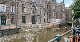 Grimburgwal quay wall collapsed in Amsterdam, 1 September 2020