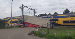 A train crashed into a truck on the Brandeweijer rail crossing in Roermond, 3 September 2020
